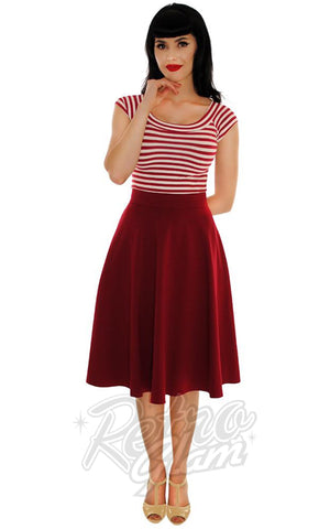 Retrolicious Striped Boat Neck Top Wine