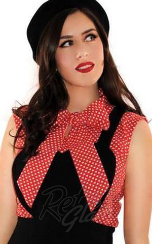 Retrolicious Heart Dot Bow top in Red & White