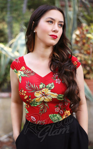 Retrolicious Isabel Top in Red Tiki Floral
