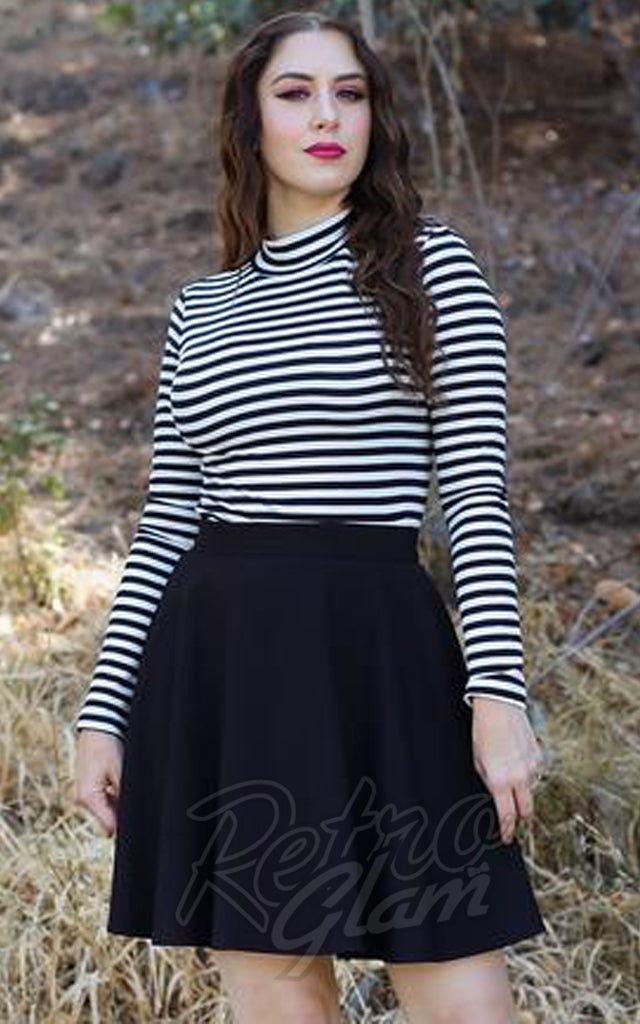 Retrolicious Mock Neck Top in Black & White Stripes