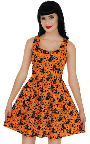 Retrolicious Pumpkins & Cats Dress halloween