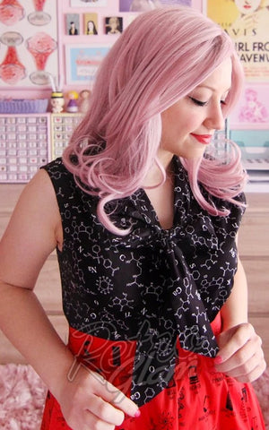 Retrolicious Bow Top in Black Science Print