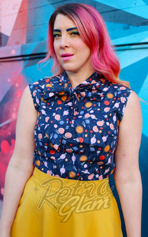 Retrolicious Bow Top in Space Out Print