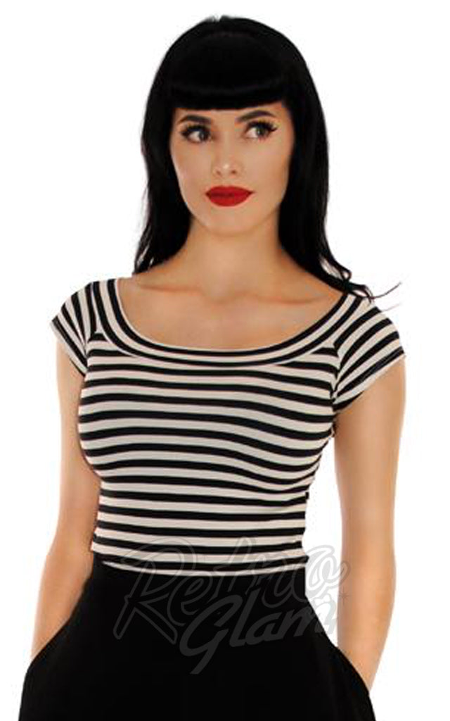 Retrolicious Striped Boat Neck Top in Black