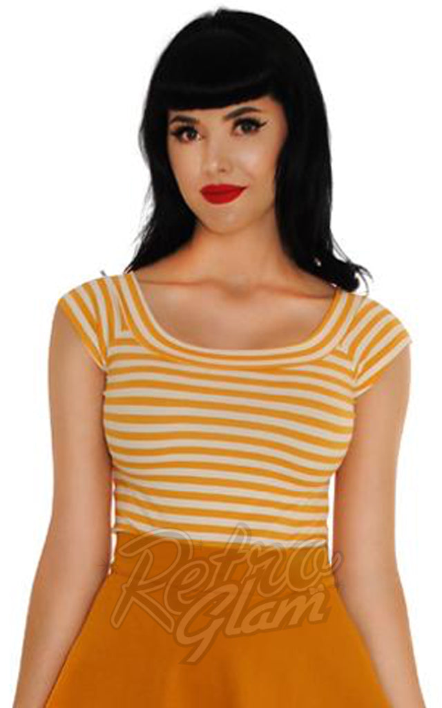Retrolicious Striped Boat Neck Top in Mustard