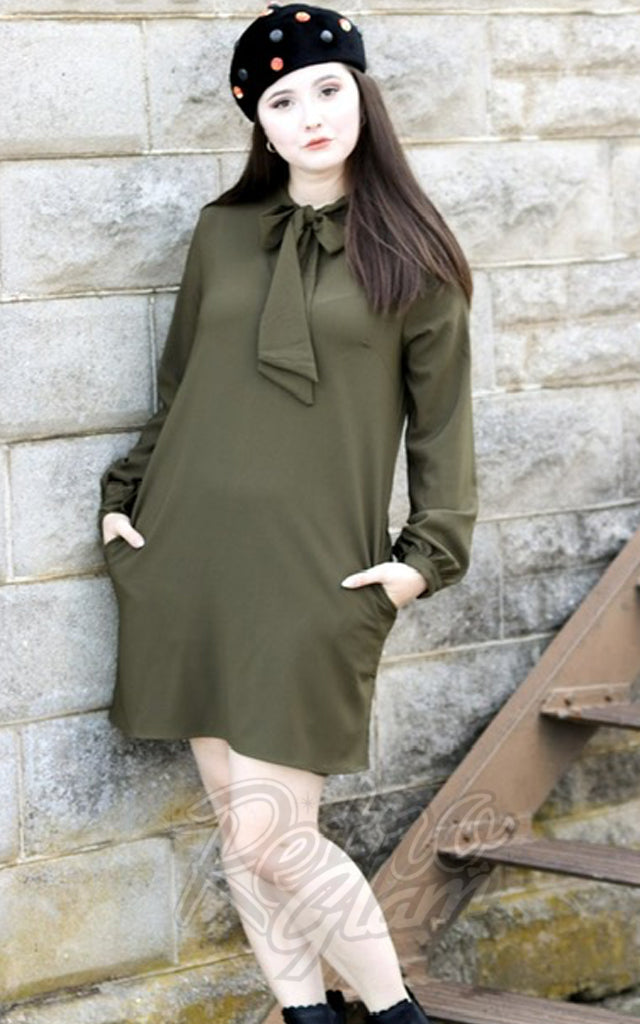Retrolicious Swingin Sixties Dress in Olive Green