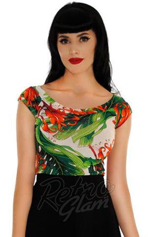 Retrolicious Boat Neck Top in Tiki Leaves