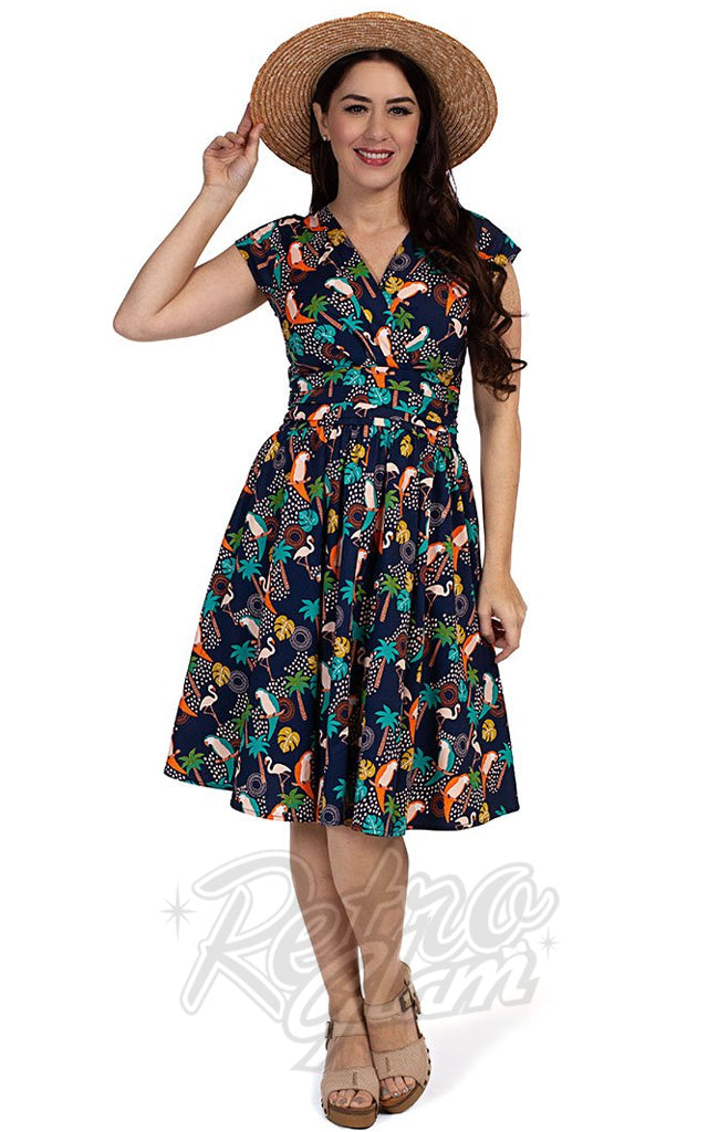 Retrolicious Tropical Birds Greta Dress