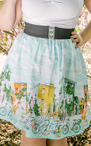 Retrolicious Alice's Adventures watercolour gathered Bicycle Skirt