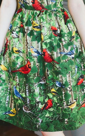Retrolicious North American Birds Chirp and trees Dress