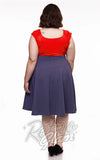 Retrolicious Charlotte circle Skirt in Heather Blue back