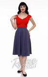 Retrolicious Charlotte circle Skirt in Heather Blue front