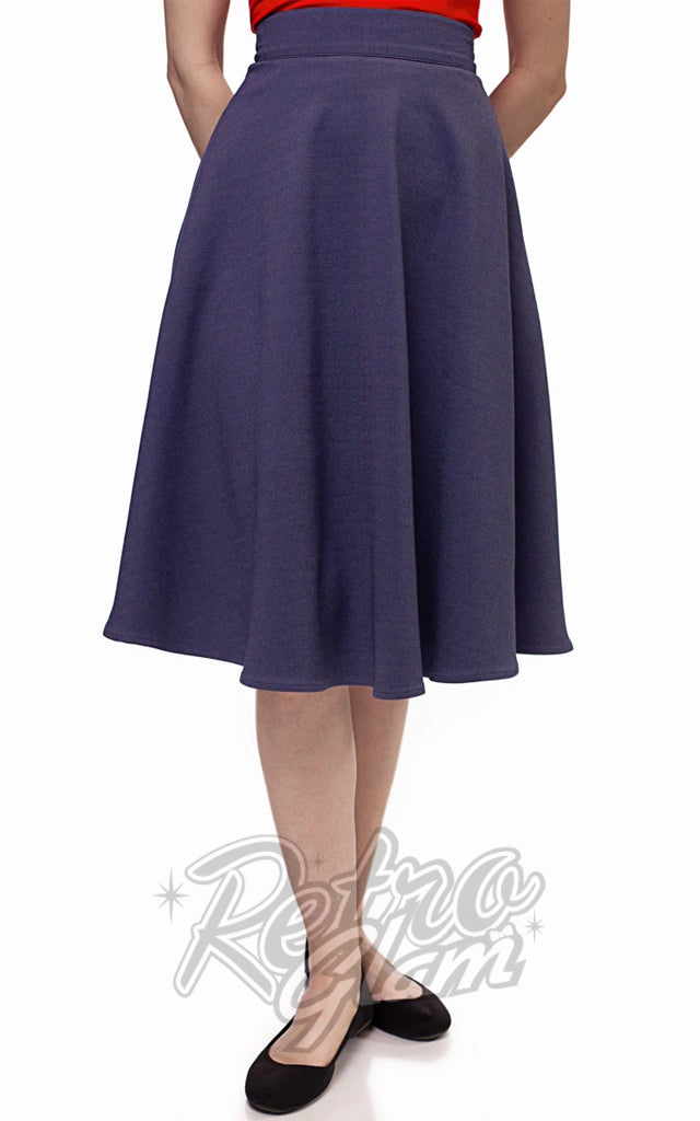 Retrolicious Charlotte Skirt in Heather Blue