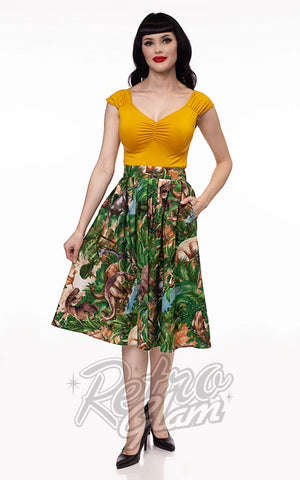 Retrolicious Doris Skirt in Jurassic Park Print front