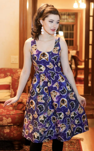 Retrolicious Galaxy Cats Dress