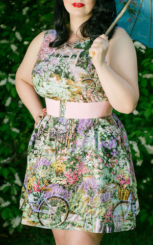 Retrolicious pink and purple Garden Dress with gathered skirt and pockets