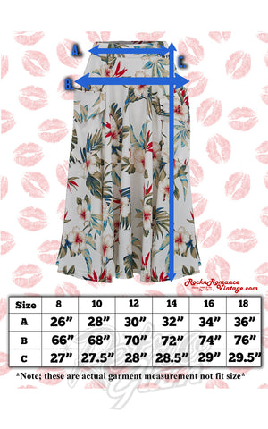 Rock n Romance Swing Skirt in Natural White Hawaiian Print size chart