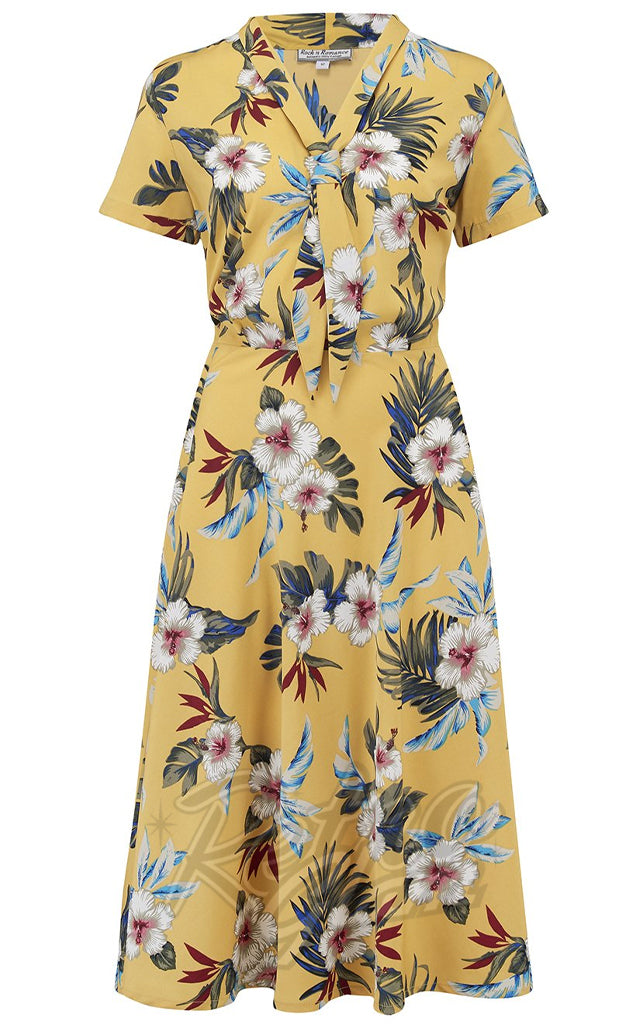 Rock n Romance Jean Tea Dress in Mustard Hawaiian Print
