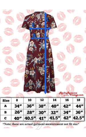 Rock n Romance Jean Tea Dress in Mustard Hawaiian Print size chart