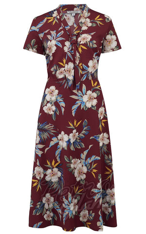 Rock n Romance Jean Tea Dress in Wine Hawaiian Print