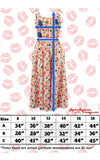 Rock n Romance Suzy Sun Dress in Paradise Print size chart
