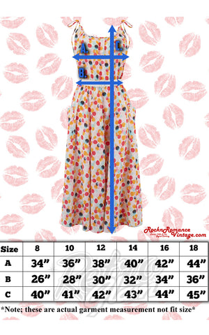 Rock n Romance Suzy Sun Dress size chart