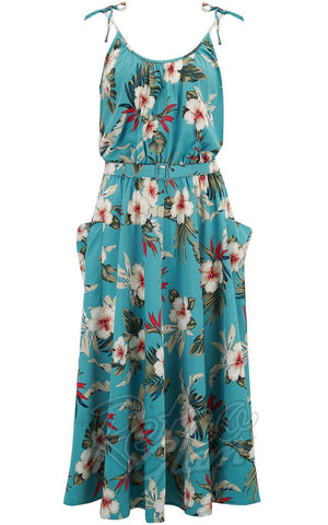 Rock n Romance Suzy Sun Dress in Teal Hawaiian Print