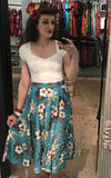 Rock n Romance Swing Skirt in Teal Hawaiian Print