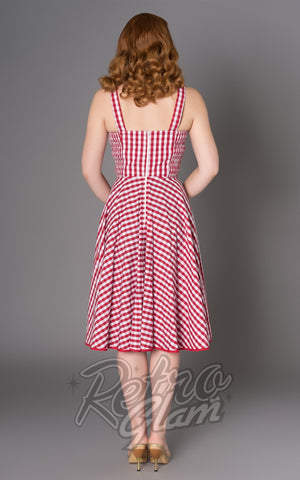 Sheen Angie red and white gingham Dress back