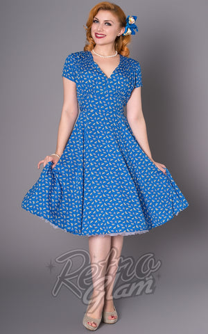 Sheen Blue Dragonflies Sheena Dress front
