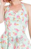 Voodoo Vixen Abigail Ice Cream Halter Dress bust detail