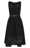 Voodoo Vixen vintage inspired Juliette Embroidered Flared dress with full skirt and black belt