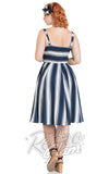 Voodoo Vixen Kayla Nautical Striped Dress back