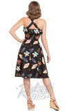 Voodoo Vixen Lucy Vegas Print Black Flared Dress back