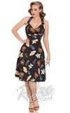 Voodoo Vixen Lucy Vegas Print Black Flared Dress front