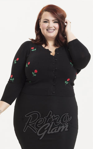 Voodoo Vixen Rose Applique Cardigan