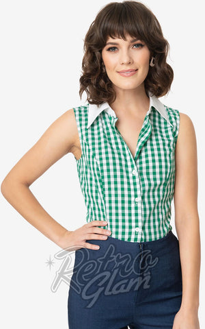 Smak Parlour Go Getter Blouse in Green & White Gingham