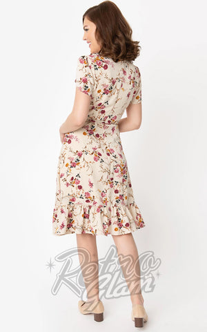 Smak Parlour Hide and Go Dress in Beige & Pink Floral Print back