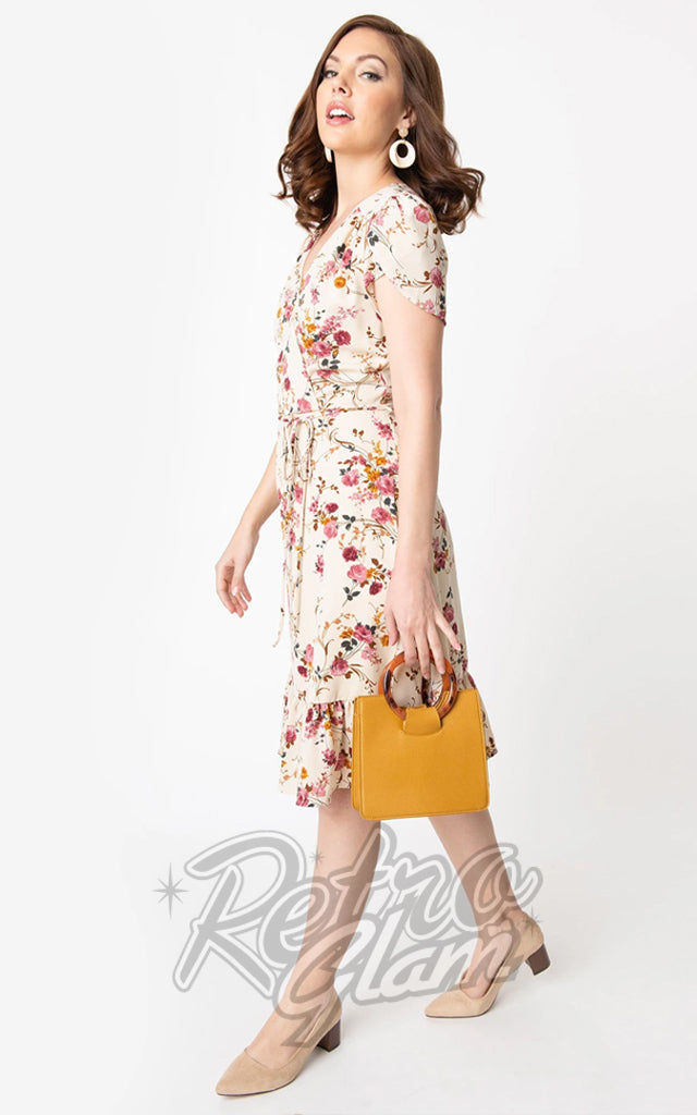 Smak Parlour Hide and Go Dress in Beige & Pink Floral Print