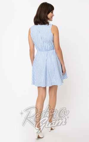 Smak Parlour Queen Bee Dress in Light Blue & White Gingham back