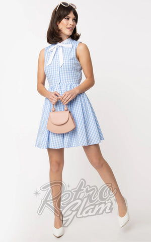 Smak Parlour Queen Bee Dress in Light Blue & White Gingham