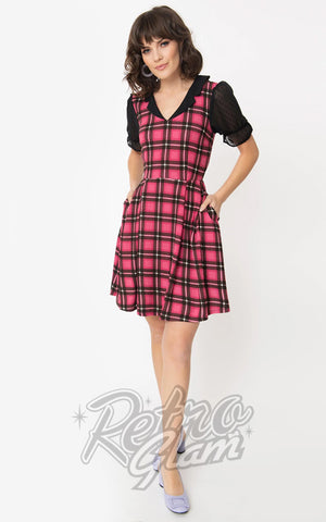 Smak Parlour Ruffle Riot Dress in Pink Plaid