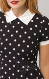 Smak Parlour Babe Revolution Dress in Black & White Polka Dots detail
