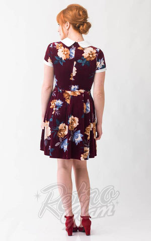 Smak Parlour Babe Revolution Dress in Maroon Floral Velvet back