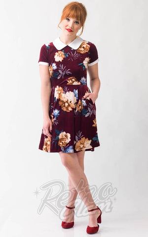 Smak Parlour Babe Revolution Dress in Maroon Floral Velvet