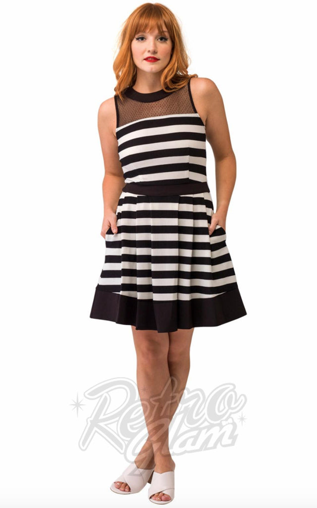 Smak Parlour Fit and Flare Dress in Black & White Stripes