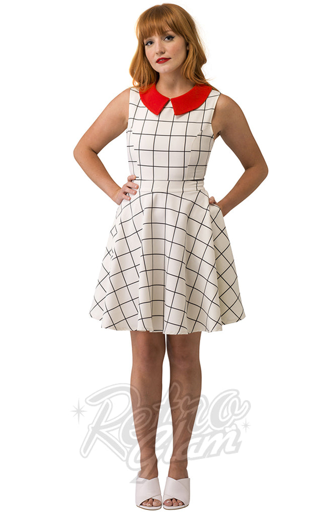 Smak Parlour Closing Night Dress in Windowpane with Red Collar