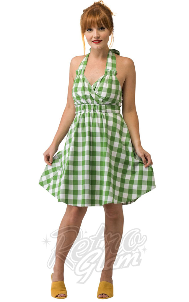 Smak Parlour Heavy Petal Green & Ivory Gingham Halter Dress