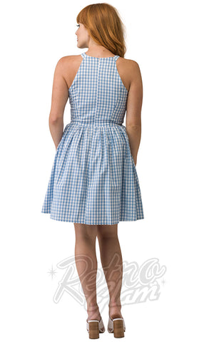 Smak Parlour High Arrival Halter Dress in Blue Gingham back