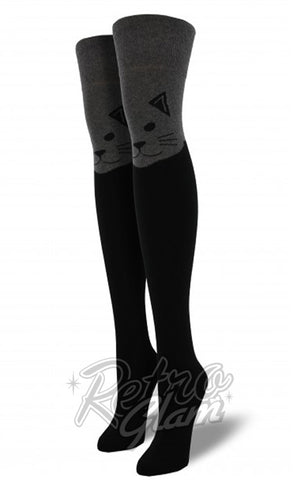 Over the Knee Cat Socks in Heather Grey & Black